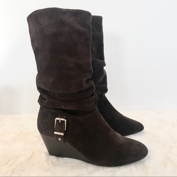 430d21ca0616 Alex Marie Shoes - ALEX MARIE Slouchy Brown Suede Wedge Boots
